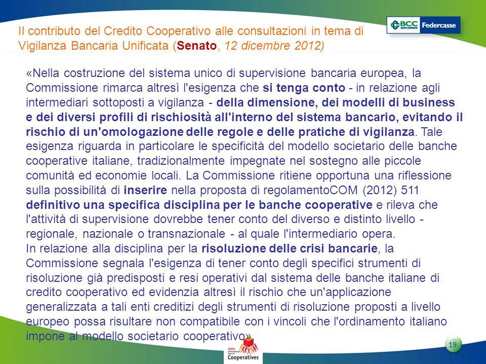 Il contributo del Credito Cooperativo alle consultazioni in tema di Vigilanza Bancaria Unificata (Senato, 12 dicembre 2012)