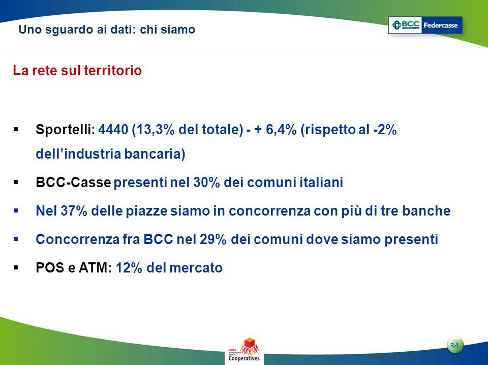 BCC-Casse presenti nel 30% dei comuni italiani