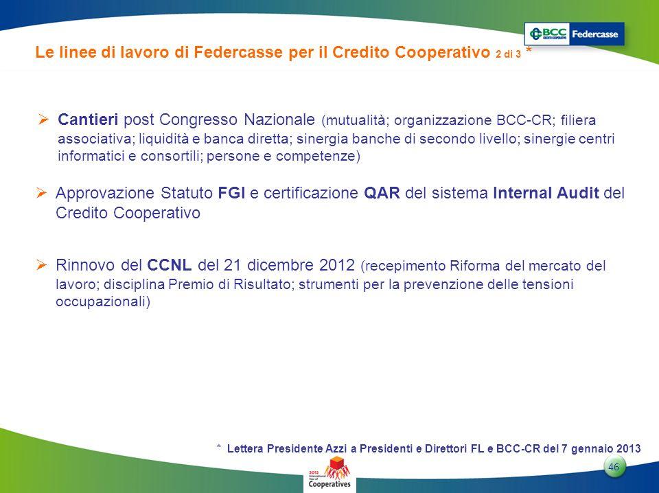 Le linee di lavoro di Federcasse per il Credito Cooperativo 2 di 3 *