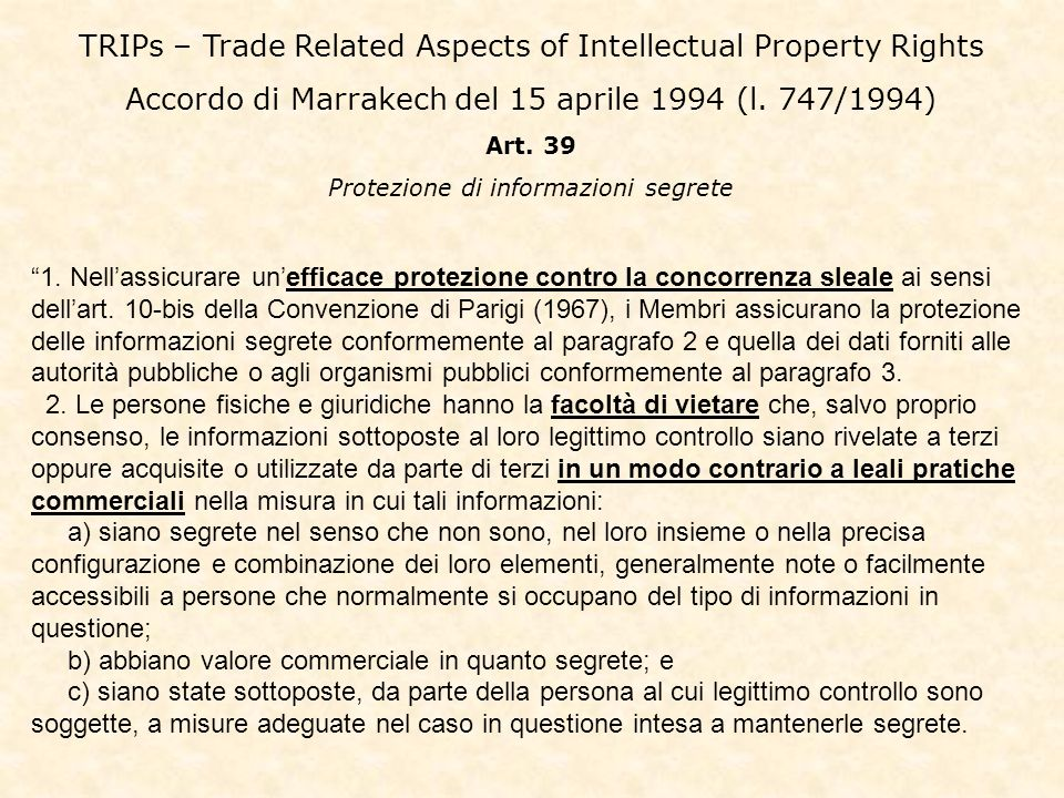 TRIPs – Trade Related Aspects of Intellectual Property Rights