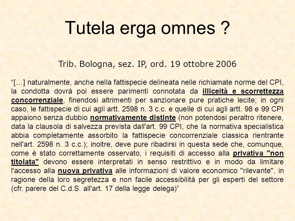 Trib. Bologna, sez. IP, ord. 19 ottobre 2006