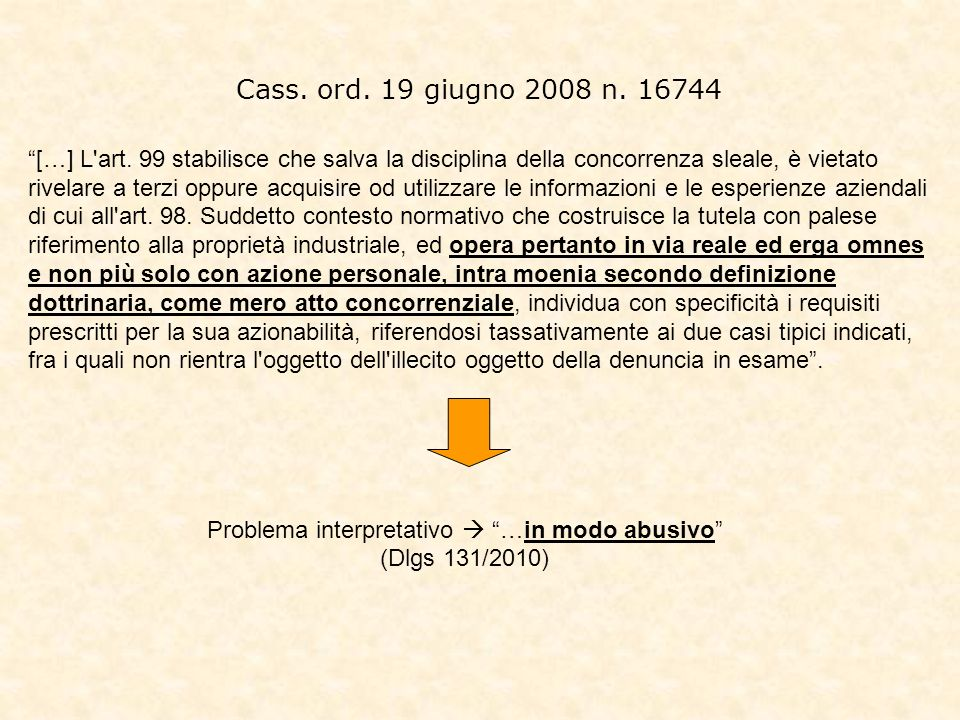 Problema interpretativo  …in modo abusivo (Dlgs 131/2010)