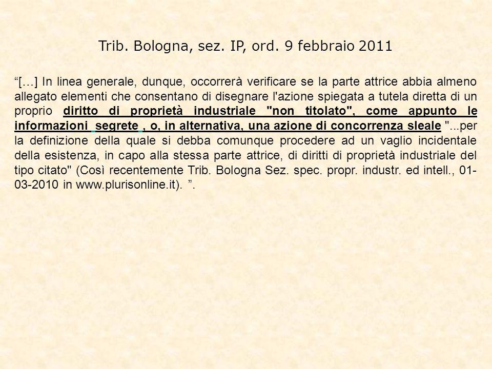 Trib. Bologna, sez. IP, ord. 9 febbraio 2011
