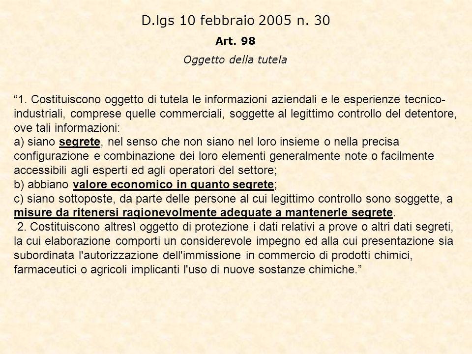 D.lgs 10 febbraio 2005 n. 30 Art. 98. Oggetto della tutela.