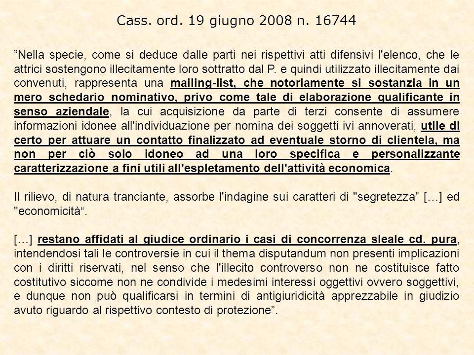 Cass. ord. 19 giugno 2008 n. 16744