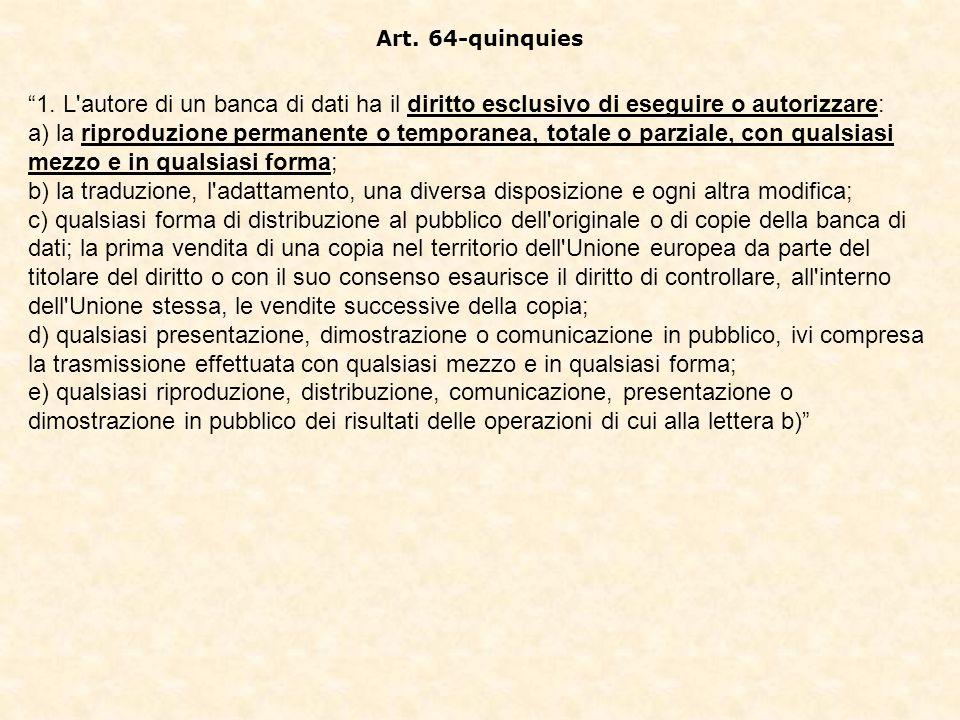 Art. 64-quinquies 1. L autore di un banca di dati ha il diritto esclusivo di eseguire o autorizzare: