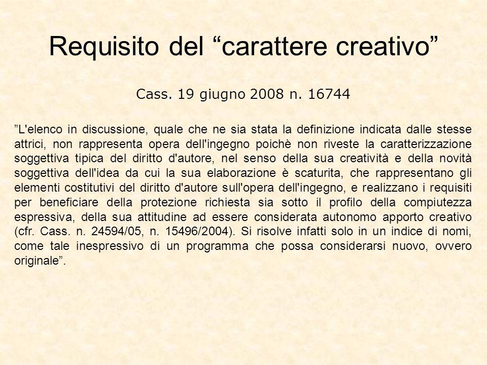 Requisito del carattere creativo