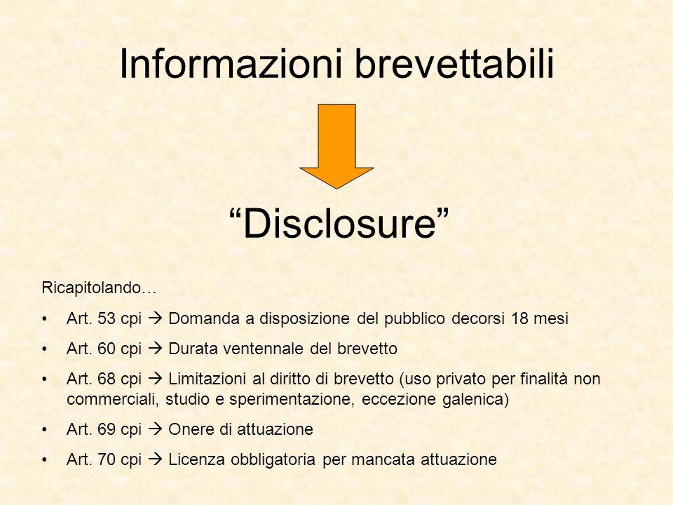 Informazioni brevettabili
