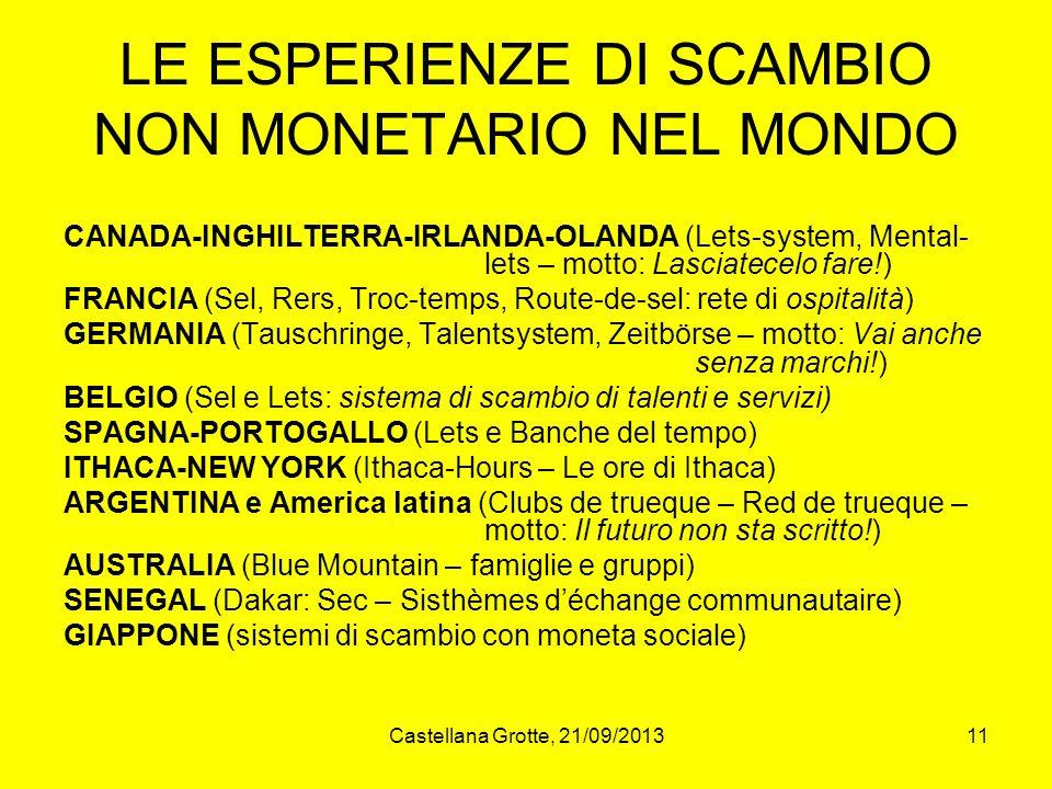 LE ESPERIENZE DI SCAMBIO NON MONETARIO NEL MONDO