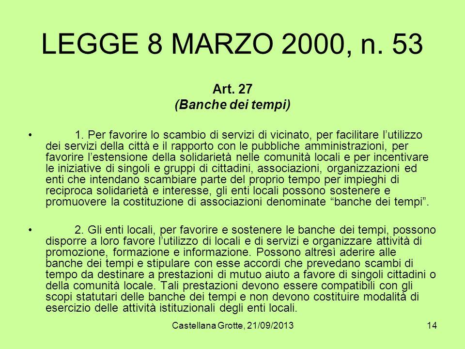 LEGGE 8 MARZO 2000, n. 53 Art. 27 (Banche dei tempi)