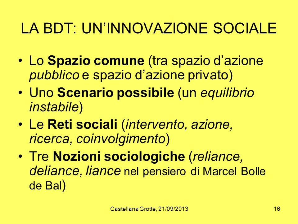 LA BDT: UN'INNOVAZIONE SOCIALE