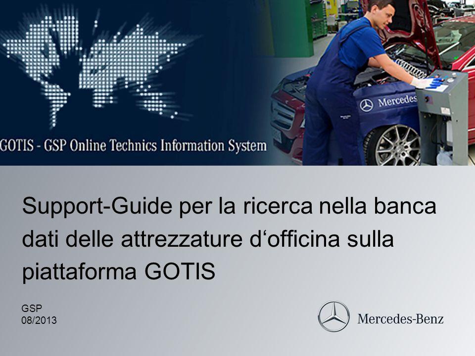 Support-Guide per la ricerca nella banca dati delle attrezzature d'officina sulla piattaforma GOTIS