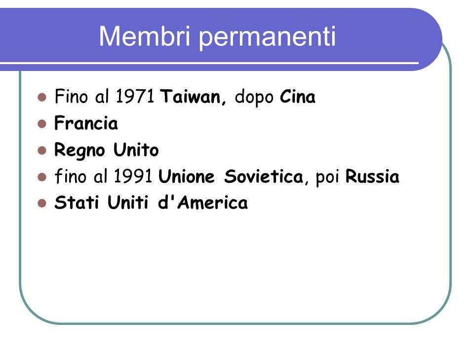 Membri permanenti Fino al 1971 Taiwan, dopo Cina Francia Regno Unito
