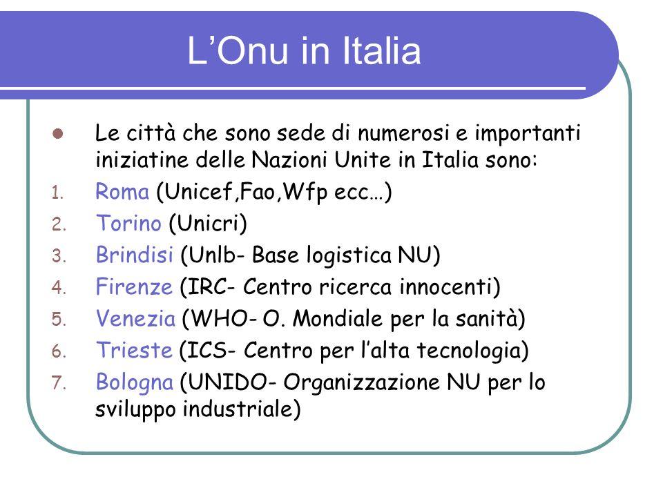 L'Onu in ItaliaLe città che sono sede di numerosi e importanti iniziatine delle Nazioni Unite in Italia sono: