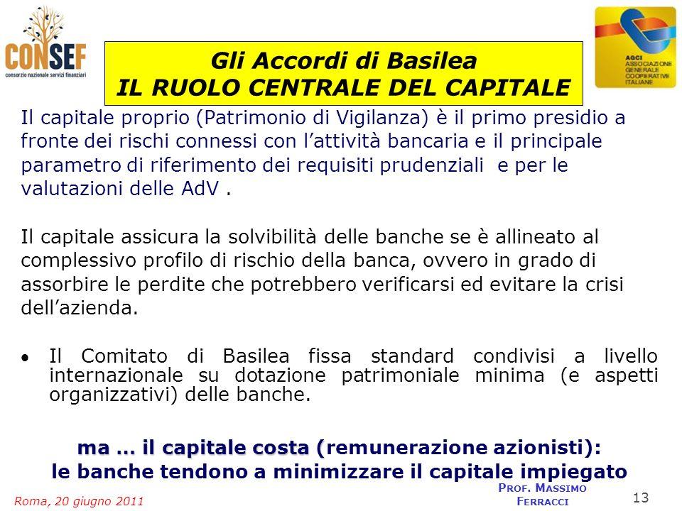 Gli Accordi di Basilea IL RUOLO CENTRALE DEL CAPITALE