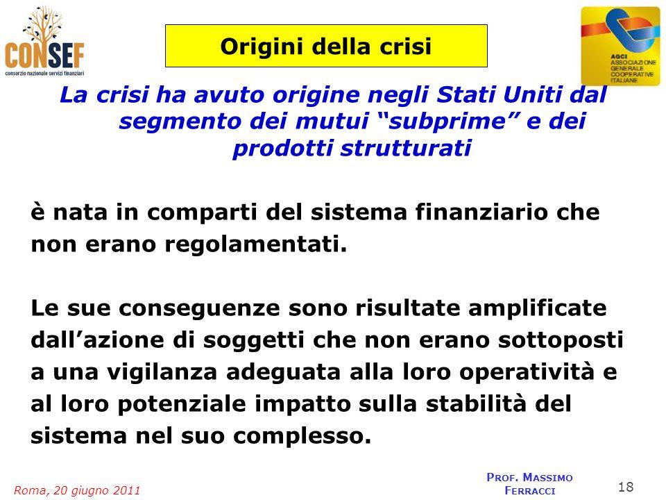 Origini della crisi La crisi ha avuto origine negli Stati Uniti dal segmento dei mutui subprime e dei prodotti strutturati.