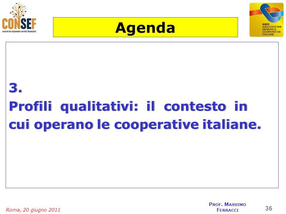 Agenda 3. Profili qualitativi: il contesto in