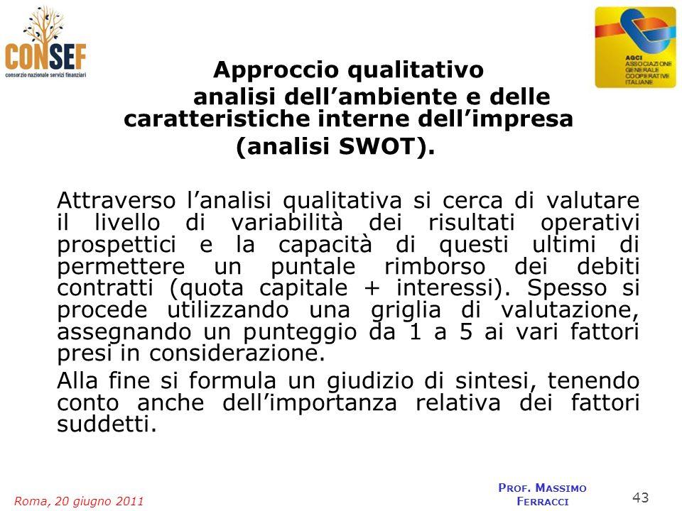 Approccio qualitativo analisi dell'ambiente e delle caratteristiche interne dell'impresa (analisi SWOT).