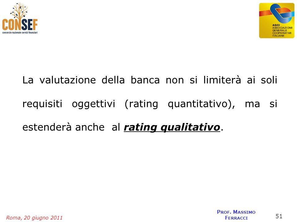 La valutazione della banca non si limiterà ai soli requisiti oggettivi (rating quantitativo), ma si estenderà anche al rating qualitativo.