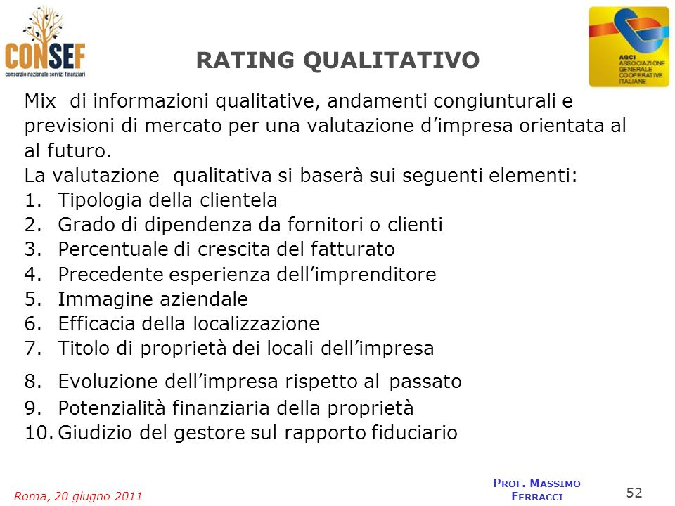 FEDERLAZIO RATING QUALITATIVO. Mix di informazioni qualitative, andamenti congiunturali e.