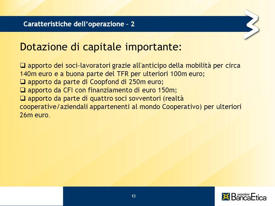 Dotazione di capitale importante: