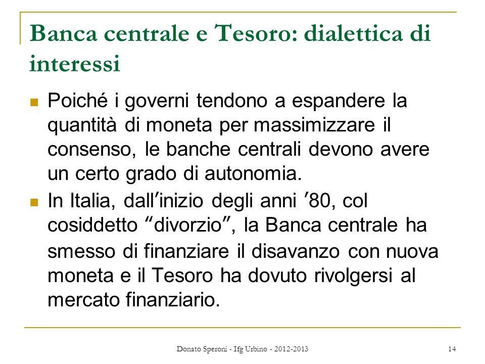 Banca centrale e Tesoro: dialettica di interessi