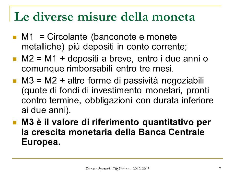 Le diverse misure della moneta