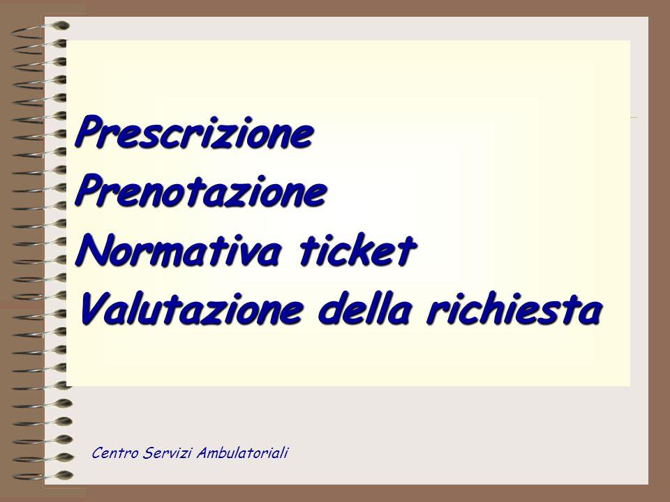 Prescrizione Prenotazione Normativa ticket Valutazione della richiesta