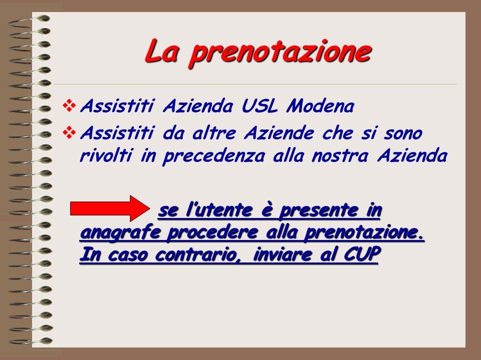 La prenotazione Assistiti Azienda USL Modena
