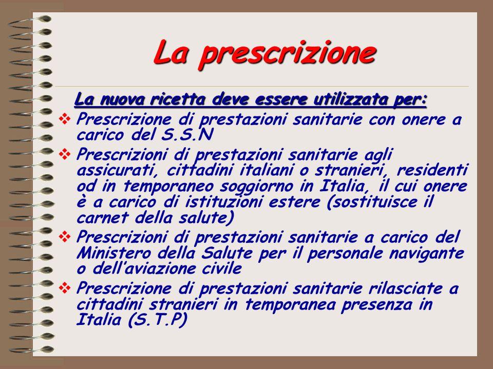 La prescrizione La nuova ricetta deve essere utilizzata per: