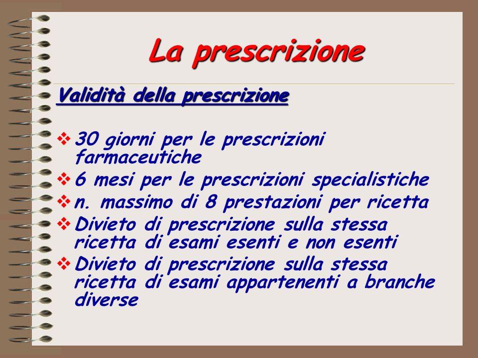 La prescrizione Validità della prescrizione