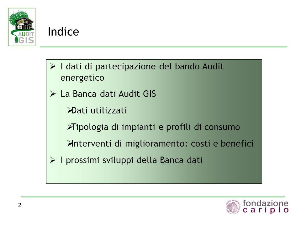 Indice I dati di partecipazione del bando Audit energetico