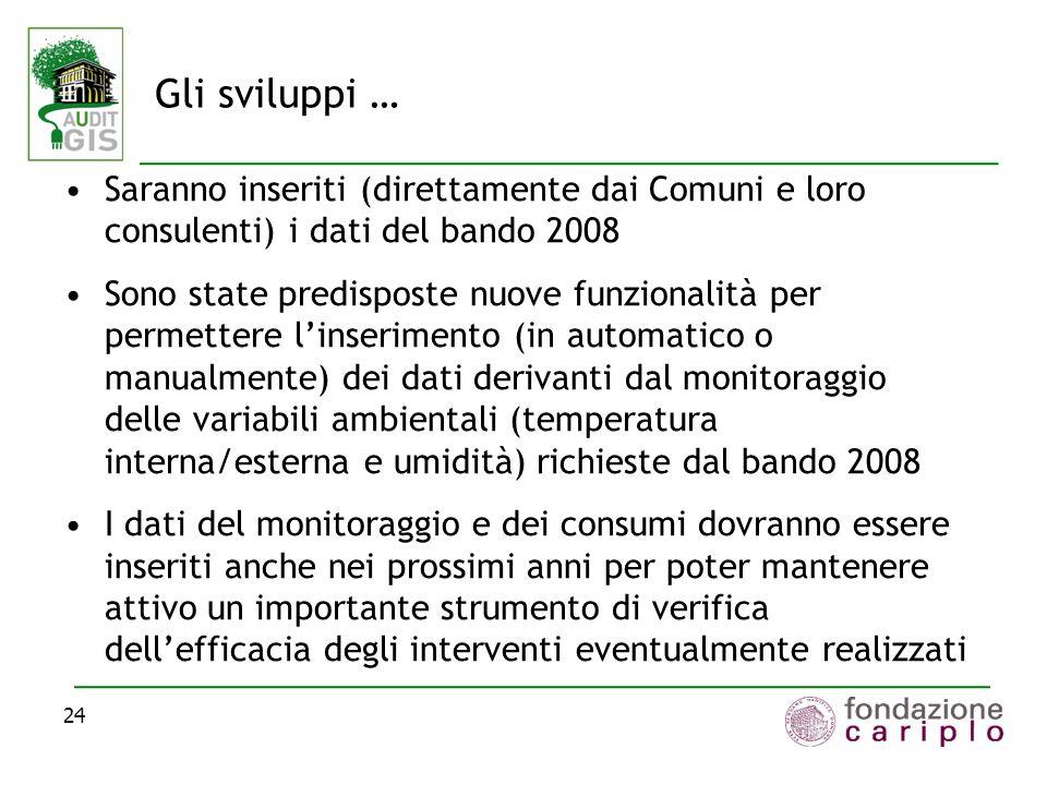 Gli sviluppi … Saranno inseriti (direttamente dai Comuni e loro consulenti) i dati del bando 2008.