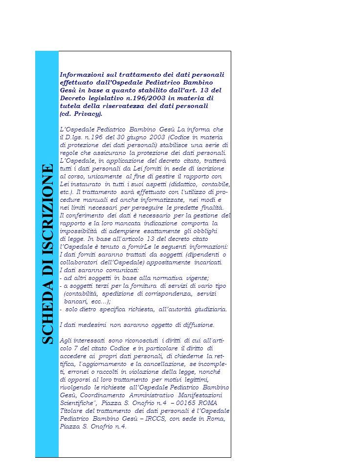 SCHEDA DI ISCRIZIONE Informazioni sul trattamento dei dati personali