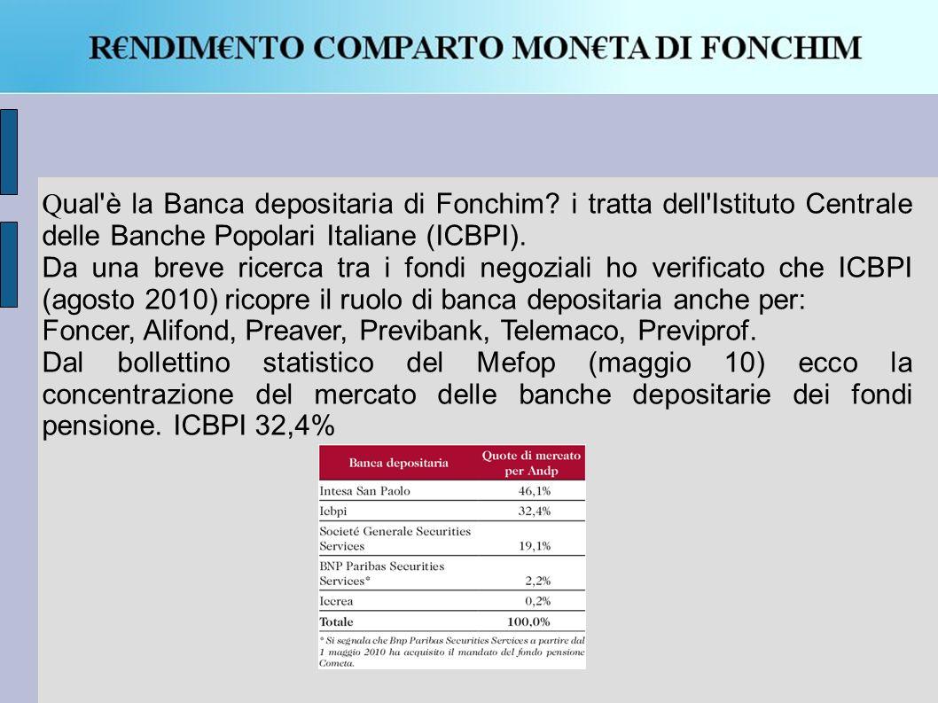 Qual è la Banca depositaria di Fonchim