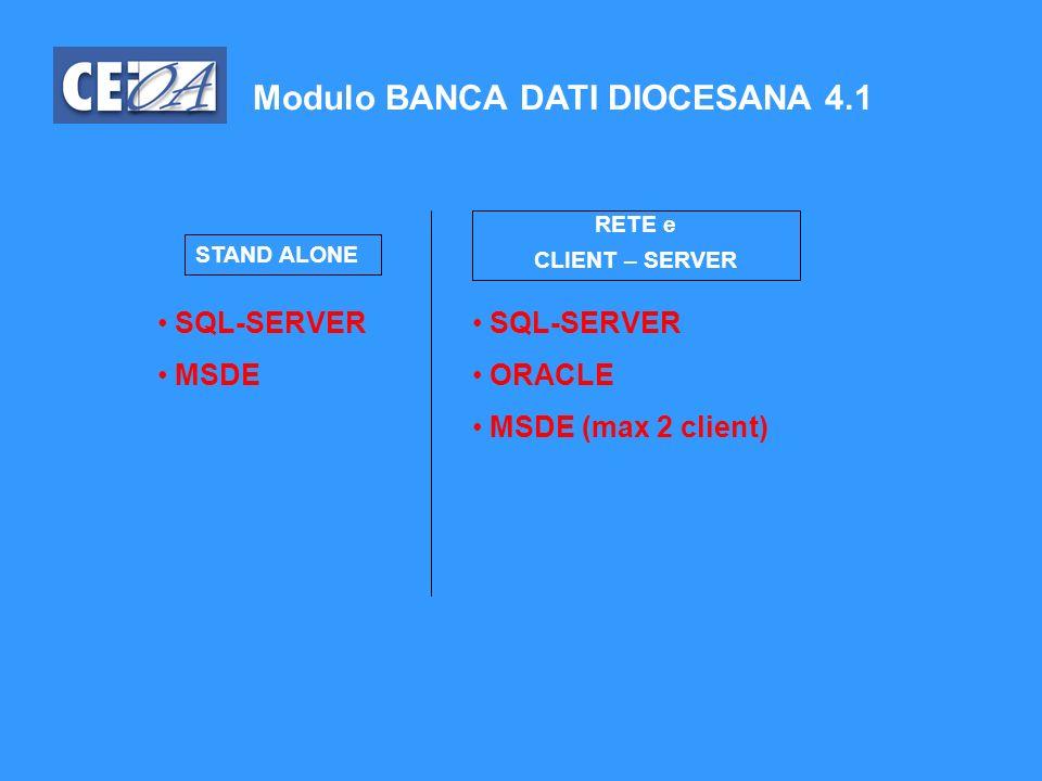Modulo BANCA DATI DIOCESANA 4.1