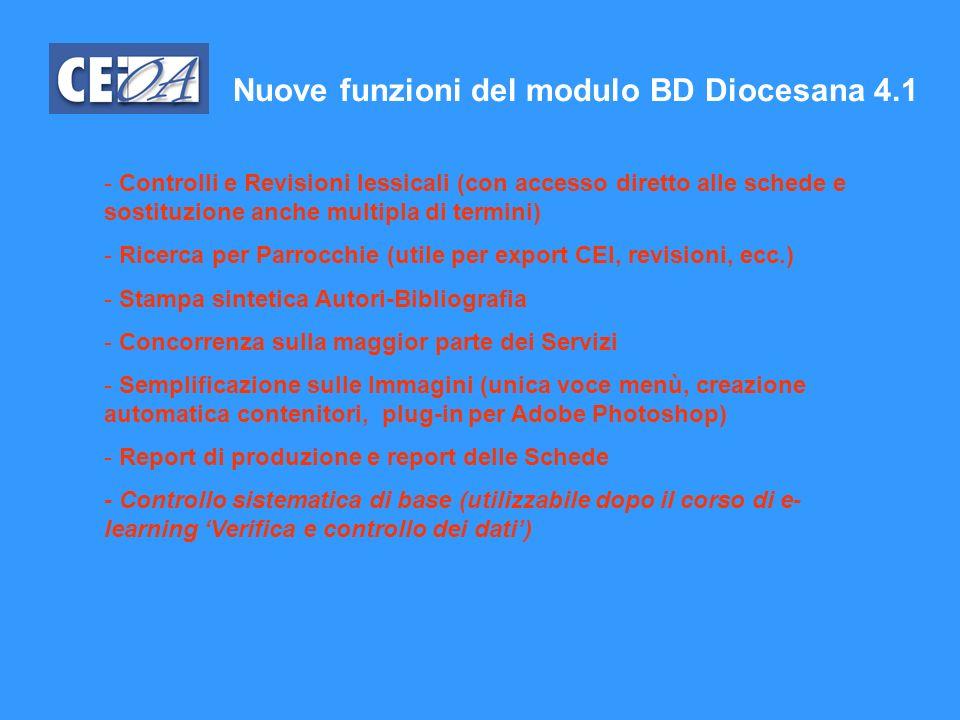 Nuove funzioni del modulo BD Diocesana 4.1
