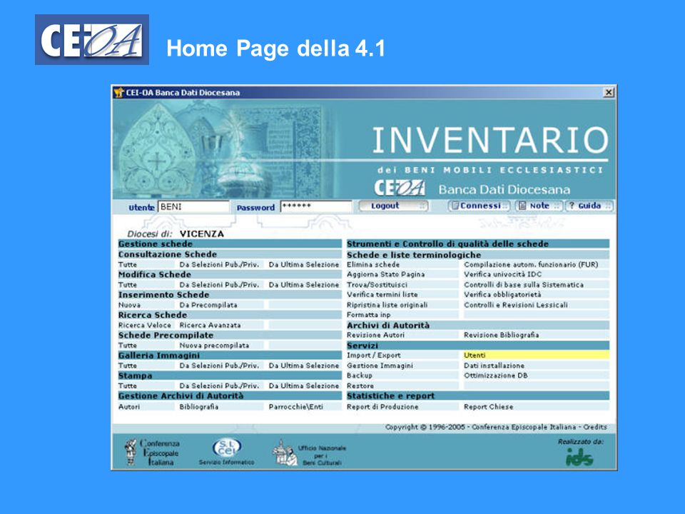 Home Page della 4.1