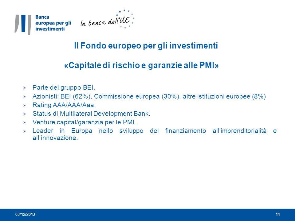 Il Fondo europeo per gli investimenti «Capitale di rischio e garanzie alle PMI»