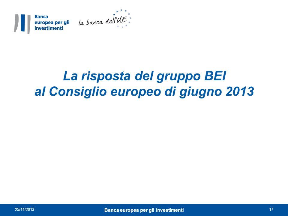 La risposta del gruppo BEI al Consiglio europeo di giugno 2013