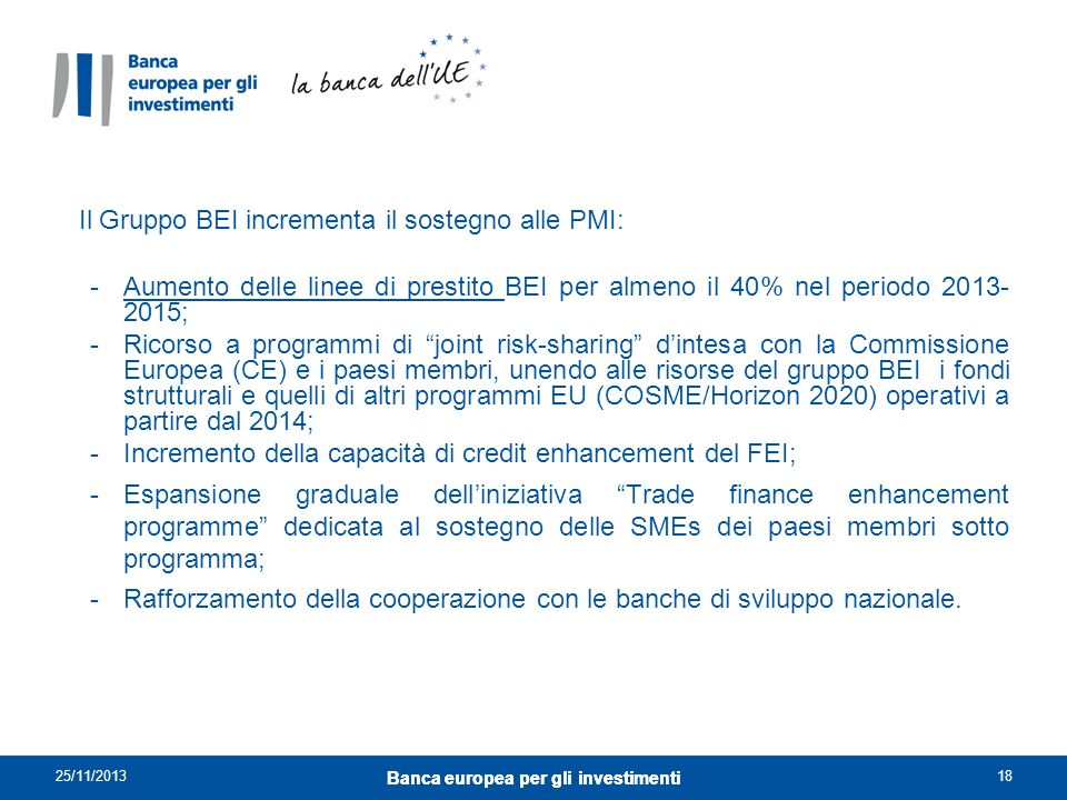 Banca europea per gli investimenti Banca europea per gli investimenti
