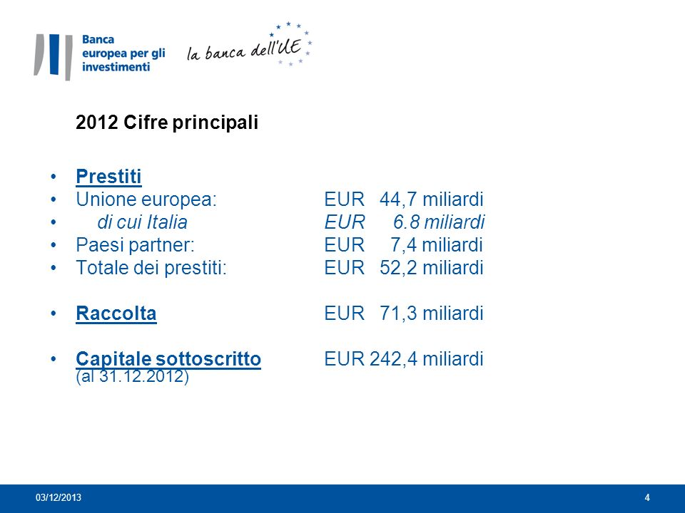 Unione europea: EUR 44,7 miliardi di cui Italia EUR 6.8 miliardi