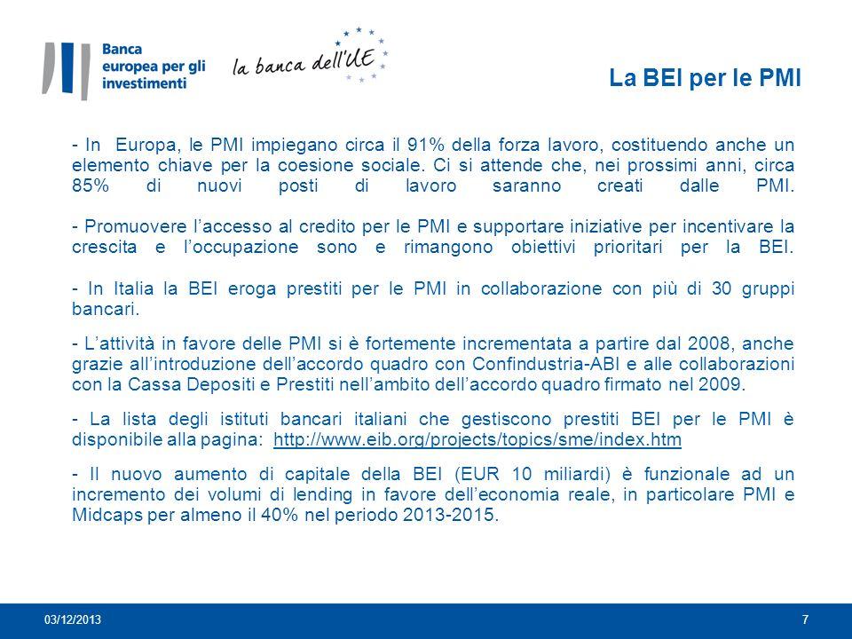 La BEI per le PMI