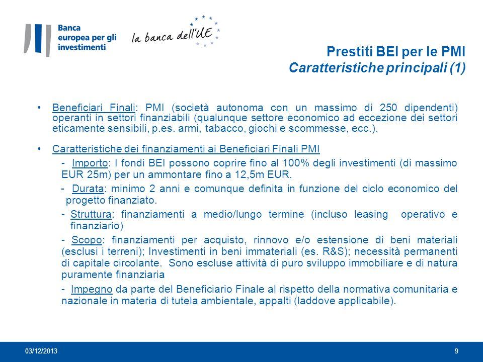 Prestiti BEI per le PMI Caratteristiche principali (1)