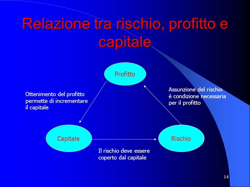 Relazione tra rischio, profitto e capitale