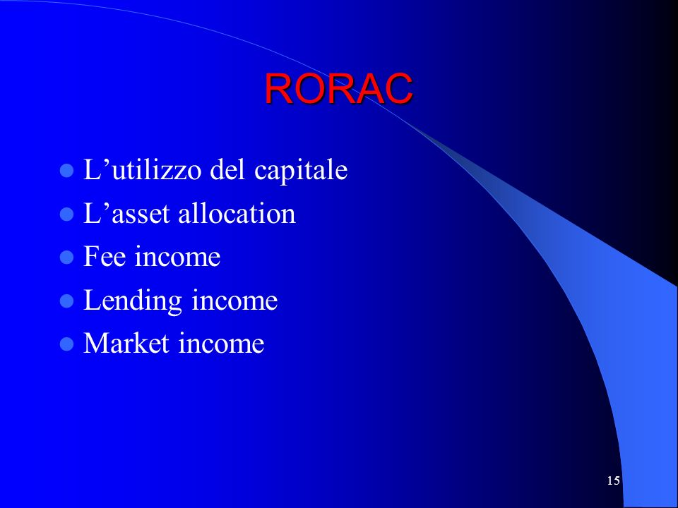 RORAC L'utilizzo del capitale L'asset allocation Fee income