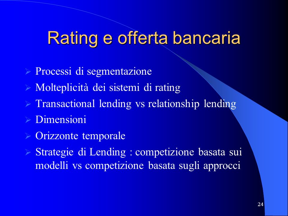 Rating e offerta bancaria