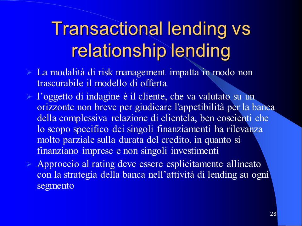 Transactional lending vs relationship lending
