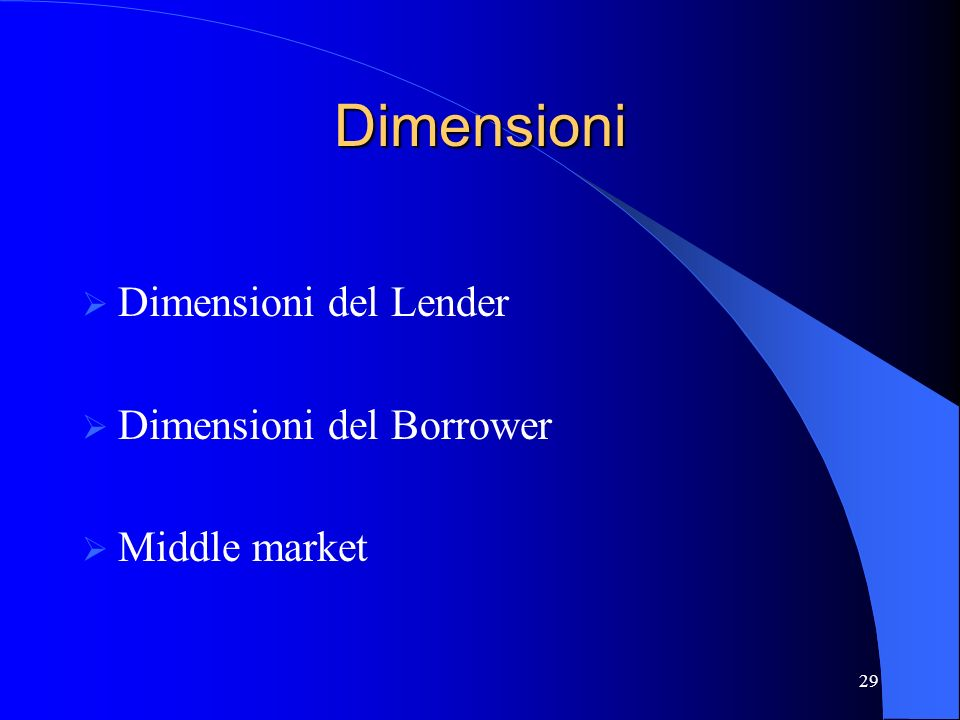 Dimensioni Dimensioni del Lender Dimensioni del Borrower Middle market