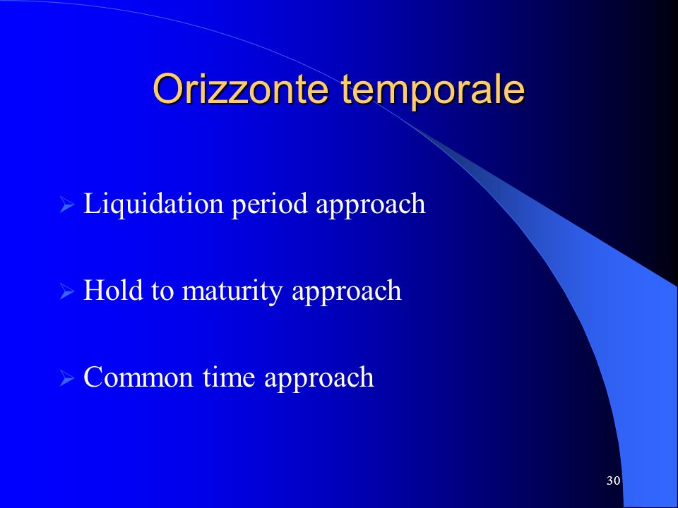 Orizzonte temporale Liquidation period approach